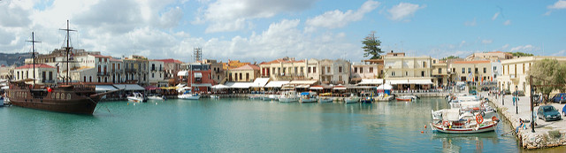 Old Rethymnon Harbour panorama showing the pirate ship