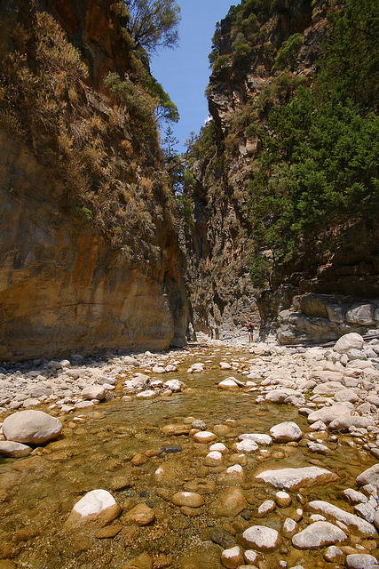Take a rock-hopping hike through Samaria Gorge for 16 km
