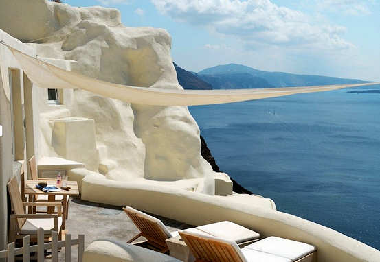Mystique Resort in Oia, Santorini; art in architecture