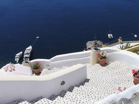 Crete Greece - Santorini white buildings and the deep blue of the Mediterranean