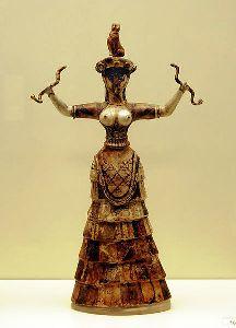 Minoan Snake Goddess ceramic figuerine from Knossos