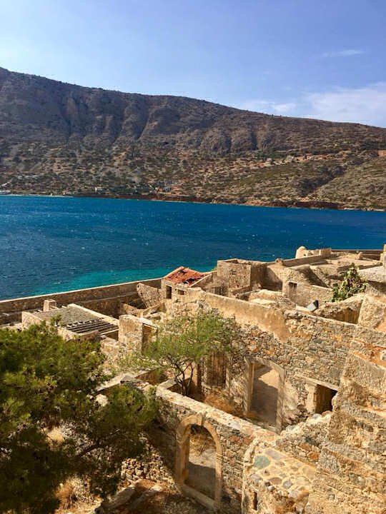 The view from Spinalonga island back to Crete