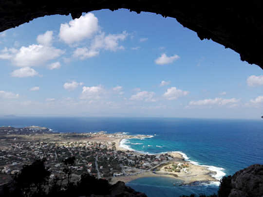Looking out from Lera Cave to Stavros Beaches and west