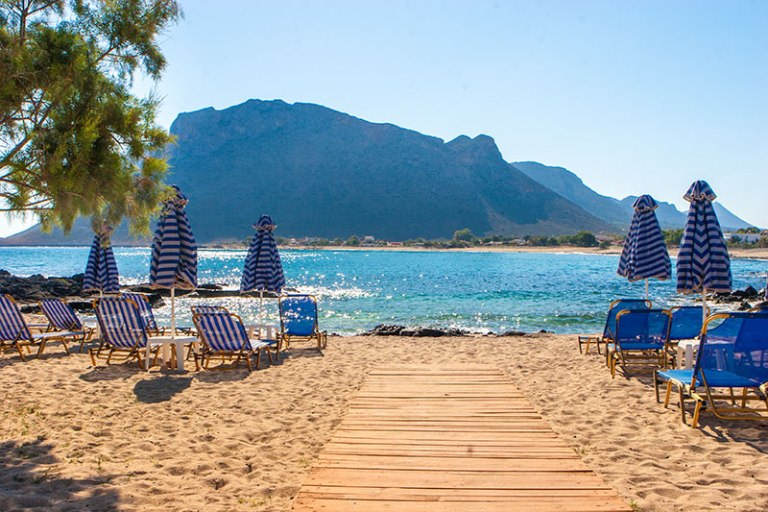 The stunning landscape of Stavros Beach in Crete