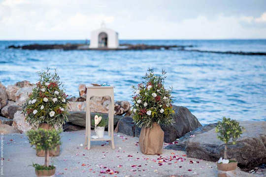 The sweetest chapel in Crete is a backdrop for a symbolic ceremony here in Georgioupolis - by Crete for Love