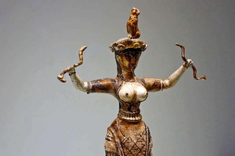 The Snake Goddess statuette is on display at the Heraklion Archaeological Museum