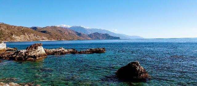 View from Paleochora Crete across to the White Mountains