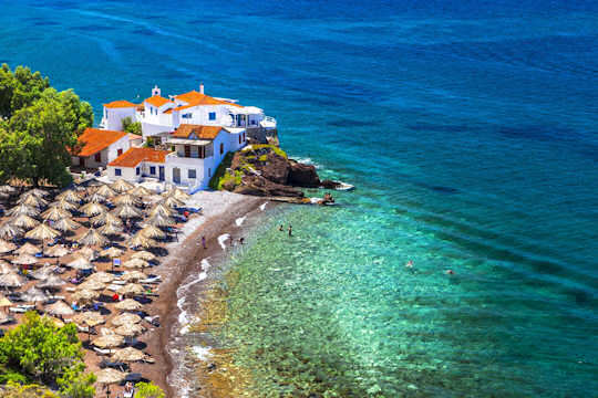 Vlichos Beach is 2 km west of Hydra port - get there by water taxi