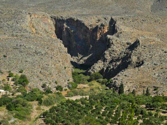 The Gorge of the Dead - Zakros Gorge - as seen from the seaside hamlet of Kato Zakros (image by Mark Latter)